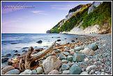 Jasmund, národní park, Německo, pobřeží s vyplaveným kmenem