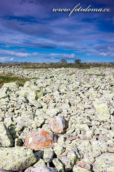 Obtížně schůdná kamenitá krajina národního parku Fulufjället u jezera Litle Rörsjön
