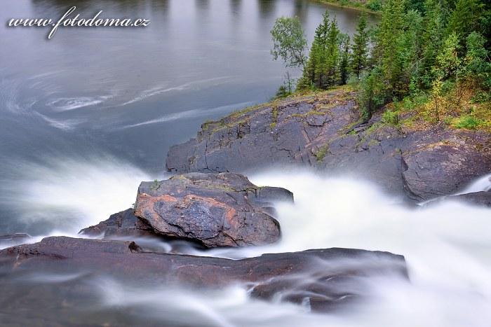 Vodopád na řece Glomåga, Norsko