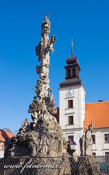 Morový sloup a radnice na náměstí, Lomnice