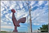 Tři symboly vyrůstající z hluboké a bohaté křesťanské tradice - symboly lidské slabosti, Boží naděje a obnovení života. Kokrhání kohouta, utrpení Krista a kvetoucí žebřík v Antalksnė, Aukštaitijos národní park, Aukštaitijos nacionalinis parkas, Litva