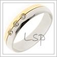 Kombinovaný snubní prsten, kde každá půlka prstýnku je jiné barvy zlata. Prsten je přizdoben třemi zirkony, které je možno zaměnit za diamanty.