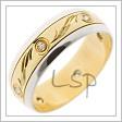 Snubní prsten s brilianty, tedy zirkony s briliantovým výbrusem, v kombinaci bílého a žlutého zlata