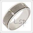 Široký snubní prsten z bílého zlata, střídající matované a lesklé části, dozdobený zirkony, na přání diamanty