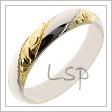 Kombinovaný snubní prsten se střídajícími se plochami s rytinami a bez rytin, z bílého a žlutého zlata, navzájem se střídají ve šroubovici
