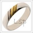 Bílé zlato je materiálem těchto snubních prstenů s vysokým leskem a se třemi matnými proužky z různých barev zlata