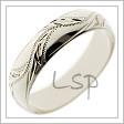 Lesklý snubní prsten bílé zlato s vlnovkou koldokola a rytinami připomínající rostliny s lístky
