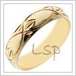 Snubní prsten ze žlutého zlata s rytinami na hladké a lesklé oblé ploše