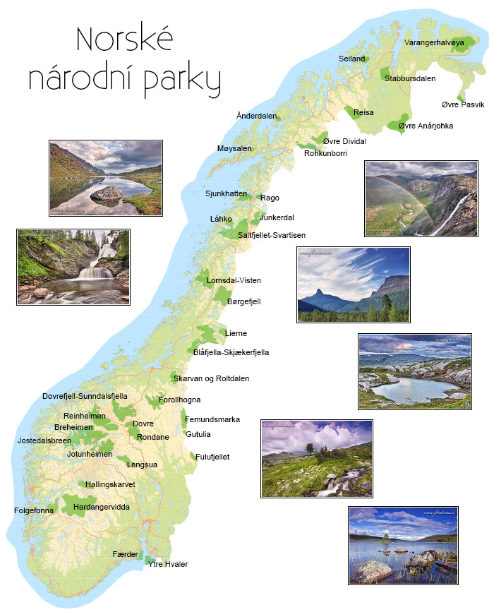 Norské národní parky mapa